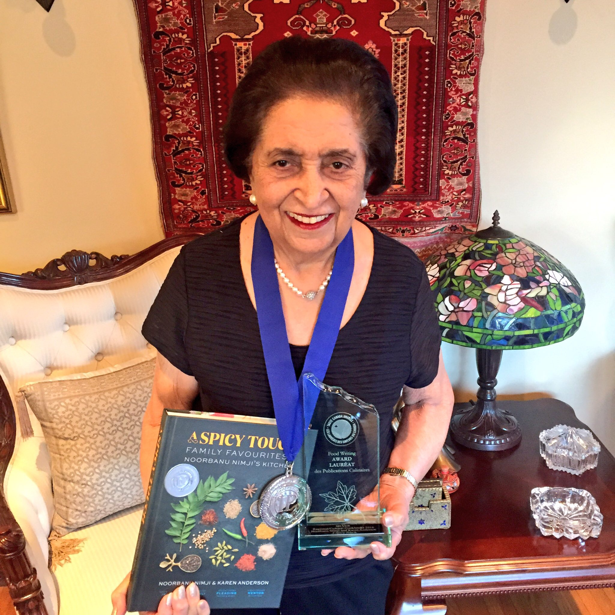 Noorbanu Nimji with Taste Canada Silver Medal for A Spicy Touch cookbook